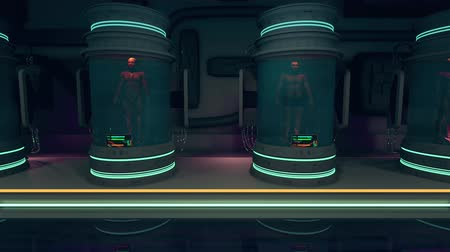 gen : 4K Human Bodies in Hibernation or Cloning Capsules Cinematic 3D Animation Stockvideo