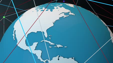 kontinent : Satellite System Network Connecions around The Globe Modern 3D Animation