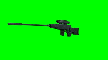 sniper scope : Sniper Hunter Rifle Rotating on GreenScreen 3D Animation