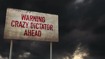 uğursuz : 4K Dictator Ahead Rusty Sign under Clouds Timelapse Stok Video
