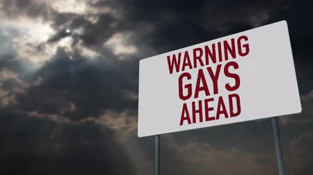 caution sign : 4K Gays Ahead Warning Sign under Clouds Timelapse