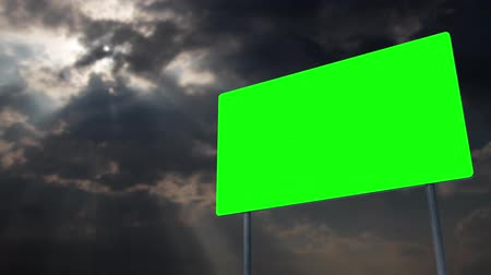 uğursuz : 4K Green Screen Warning Pole Sign under Clouds Timelapse 1