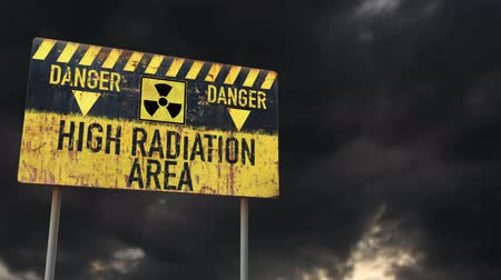 donuk : 4K High Radiation Area Rusty Sign under Clouds Timelapse Stok Video