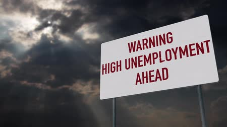 uğursuz : 4K High Unemployment Ahead Warning Sign under Clouds Timelapse Stok Video