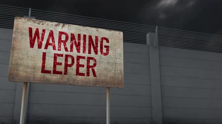 leper : 4K Leper Warning and Strong Fence under Clouds Timelapse Stock Footage