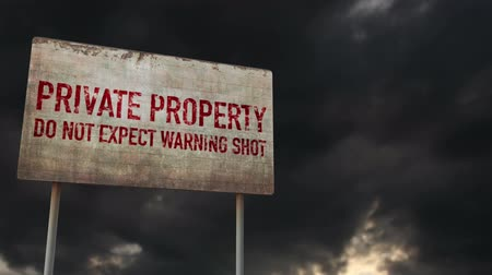 uğursuz : 4K Private Property No Warning Shot Rusty Sign under Clouds Timelapse Stok Video