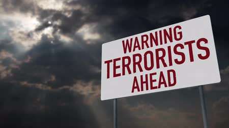 donder : 4K Terrorists Ahead Warning Sign under Clouds Timelapse Stockvideo