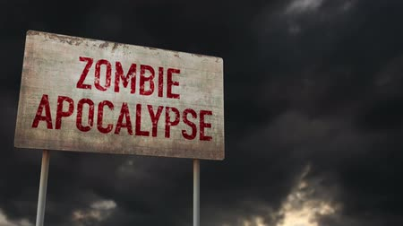 зловещий : 4K Zombie Apocalypse Ahead Rusty Sign under Clouds Timelapse