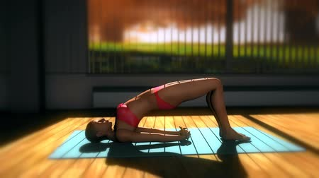 yin and yang : Bridge Yoga Pose in Yoga studio 3D Animation 2 Stock Footage