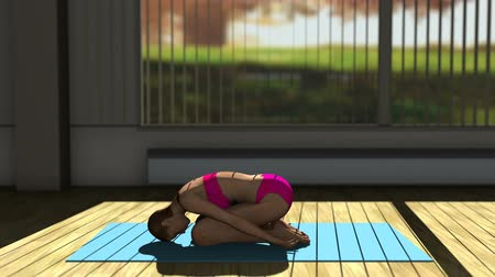 yin and yang : Children Yoga Pose in Yoga studio 3D Animation 3