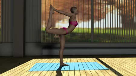 yin and yang : Dancer Yoga Pose in Yoga studio 3D Animation 1