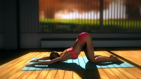 yin and yang : Puppy Dog Yoga Pose in Yoga studio 3D Animation 2