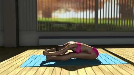yin and yang : Seated Forward Bend Yoga Pose in Yoga studio 3D Animation 1