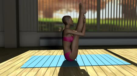 yin and yang : Seated Forward Yoga Pose in Yoga studio 3D Animation 1 Stock Footage