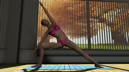 yin and yang : Sideangle Yoga Pose in Yoga studio 3D Animation 1
