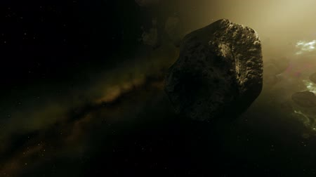 törmelék : Asteroid Field in Pulsating Colorful Galaxy Animation 2 Stock mozgókép