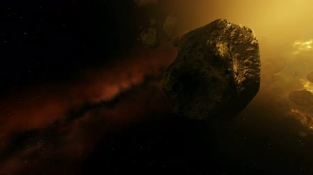 meteorite : Asteroid Field in Strongly Pulsating Colorful Galaxy Animation 2