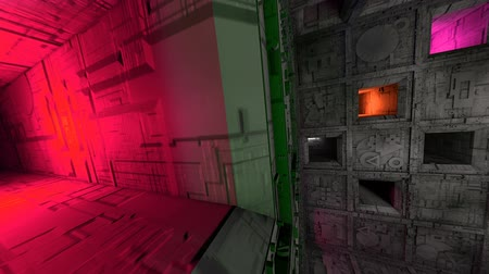 gat in muur : Colorful Sci-Fi Cube Interior 3D Animation