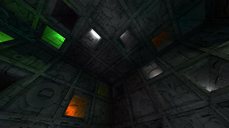 way out : Colorful Sci-Fi Cube Interior Crazy Moves Looping 3D Animation Stock Footage
