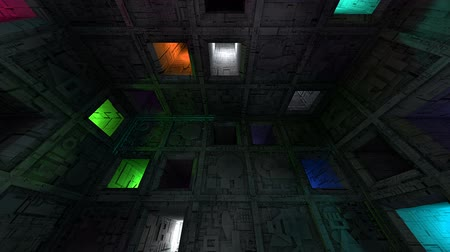 way out : Colorful Sci-Fi Cube Interior Looping 3D Animation