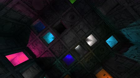 gat in muur : Colorful Sci-Fi Cube Interior Looping 3D Animation