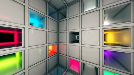 way out : Colorful Sci-Fi Cube White Interior 3D Animation Stock Footage