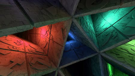 way out : Colorful Sci-Fi Labyrinth Interior Crazy Moves Looping 3D Animation