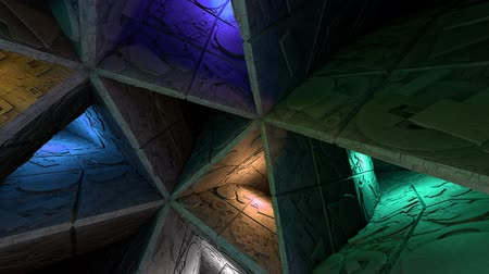 labirent : Colorful Sci-Fi Labyrinth Interior Looping 3D Animation Stok Video