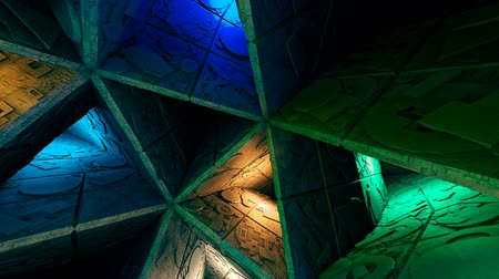 gat in muur : Colorful Sci-Fi Labyrinth Interior Looping 3D Animation Stockvideo