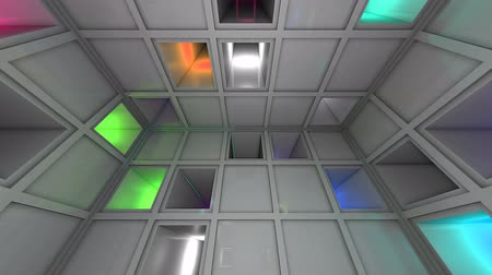 labirent : Colorful Sci-Fi White Cube Interior Looping 3D Animation Stok Video