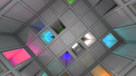 way out : Colorful Sci-Fi White Cube Interior Looping 3D Animation Stock Footage