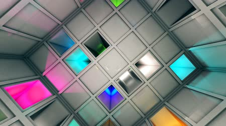 way out : Colorful Sci-Fi White Cube Interior 3D Animation Stock Footage