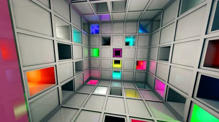 gat in muur : Colorful Sci-Fi White Cube Interior 3D Animation Stockvideo