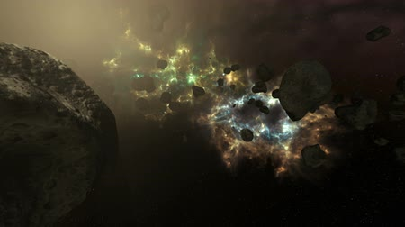asteroid : Asteroid Field in Pulsating Colorful Galaxy Animation Stock Footage