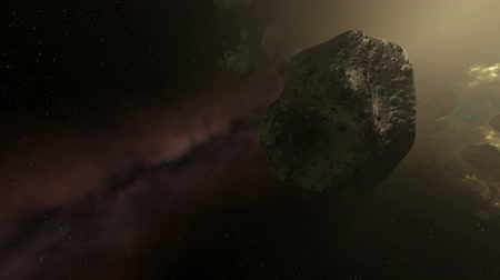 meteorite : Asteroid Field in Strongly Pulsating Colorful Galaxy Animation