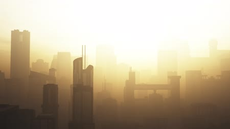 Post Apocalyptic Air Polluted Metropolis 3D Animation 6