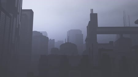 Post Apocalyptic Air Polluted Metropolis 3D Animation 14 Stock Footage