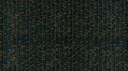 タイプスクリプト : 4K Golden Egyptian Hieroglyphs Mystic Ancient Riddle Stone Wall Segments v1 3