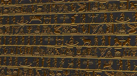 affluent : 4K Vertical Golden Egyptian Hieroglyphs Ancient Wall v2 2 Stock Footage
