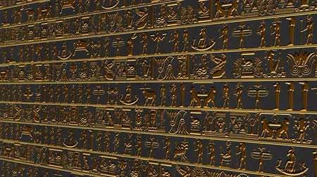 affluent : 4K Vertical Golden Egyptian Hieroglyphs Ancient Wall v3 2