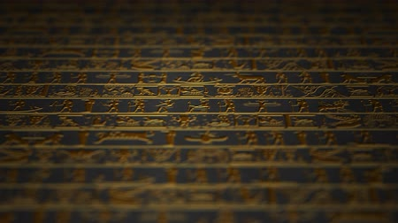 affluent : 4K Vertical Golden Egyptian Hieroglyphs Ancient Wall v4 1 Stock Footage
