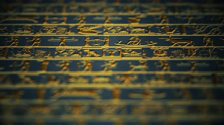 affluent : 4K Vertical Golden Egyptian Hieroglyphs Ancient Wall v5 4 Stock Footage