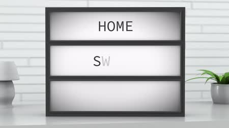sabiduría : 4K Home Sweet Home Lightbox in Bright Room Archivo de Video