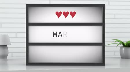 trouwen : 4K Marry Me Lightbox in Bright Room Stockvideo
