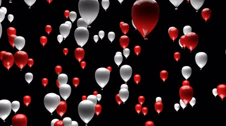 danimarka : Red White Balloons Ascending with Matte 3D Animation