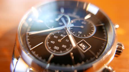 minutos : 4K Elegant Analog Wrist Watch Macro Shot Stock Footage