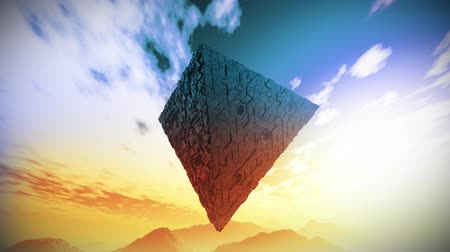 uğursuz : 4K Surrealistic Sci-Fi Upside Down Abstract Pyramid Levitate 3D Animation 2 Stok Video