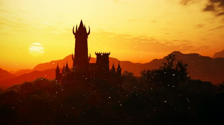 fireflies : Fantasy Castle Sunset with Fire Flies in a Mysterious Land 3D Animation