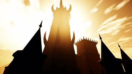 uğursuz : Scary Fantasy Castle in the Sunset 3D Animation