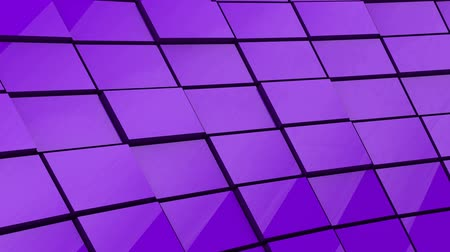 反射する : Minimalist Reflective Purple Cubic Blocky Wall 3D Background Animation